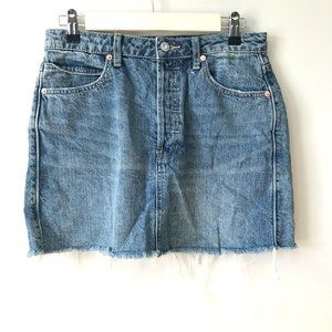 Free People Denim Button Fly Raw Hem Mini Skirt